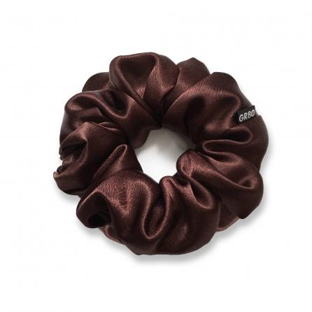 Barna selyem hajgumi (scrunchie) prémium minőségű szaténból. Átmérője kb. 12 cm