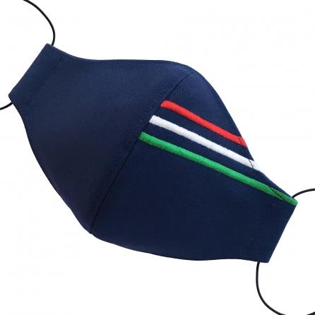 Sötétkék - Hímzett magyar zászlós arcmaszk, szűrővel, orrmerevítővel