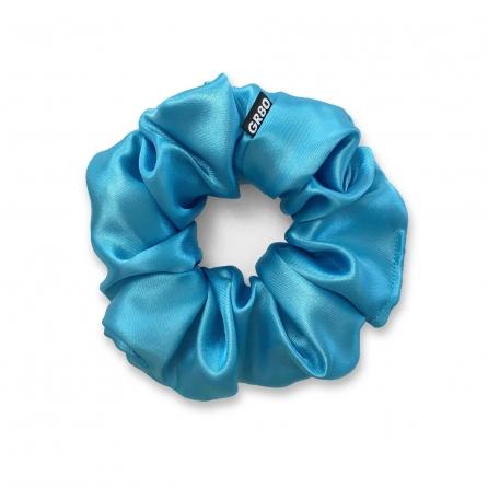 Ciánkék selyem hajgumi (scrunchie) prémium minőségű szaténból. Átmérője kb. 12 cm