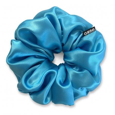 Óriás méretű, ciánkék színű szatén selyem scrunchie / hajgumi. Prémium minőségű! Átmérője kb. 16-17 cm