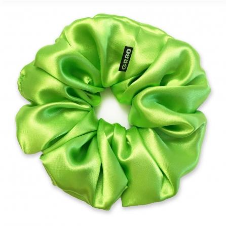 Óriás méretű, prémium minőségű, kiwizöld (neonzöld) színű szatén selyem scrunchie / hajgumi. Átmérője kb. 16-17 cm