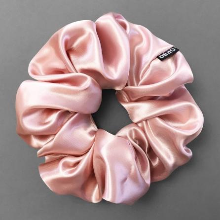 Óriás méretű, prémium minőségű, rosegold színű szatén selyem scrunchie / hajgumi. Átmérője kb. 16-17 cm