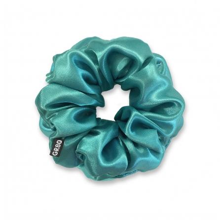 Prémium minőségű, türkiz színű szatén selyem hajgumi / scrunchie. Átmérője kb. 12 cm