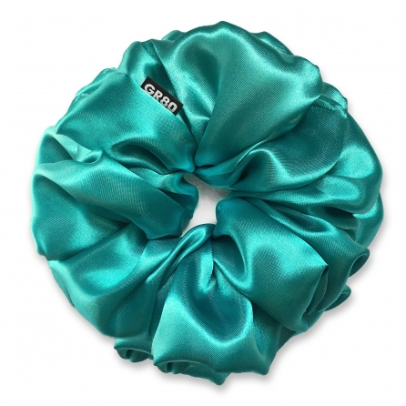 Óriás méretű, prémium minőségű, türkiz színű szatén selyem scrunchie / hajgumi. Átmérője kb. 16-17 cm
