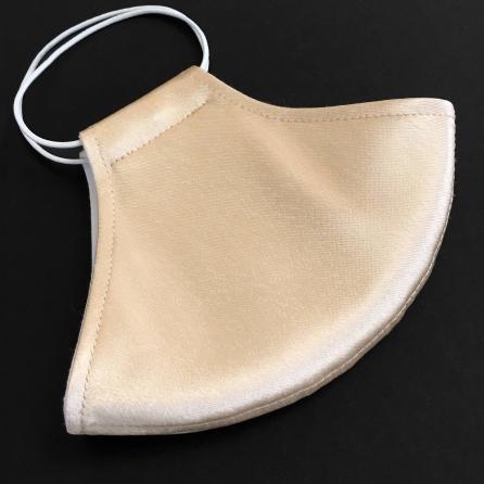 Ekrü / pezsgő selyem szájmaszk, szűrőbetéttel, állítható fülpánttal