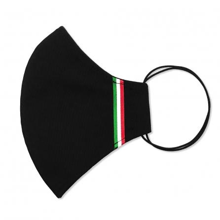 Olasz nemzeti szalagos maszk, 3 rétegű, PP szűrős, fekete színű