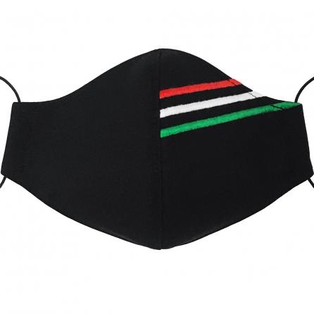 Magyar nemzeti hímzéses maszk, 3 rétegű, PP szűrős, fekete színű