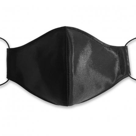 Fekete selyem arcmaszk, szűrőbetéttel, állítható fülpánttal