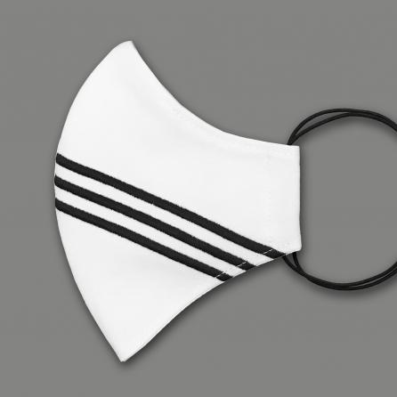 Csíkokkal hímzett pamut maszk, 3 rétegű, PP szűrős, fehér színű