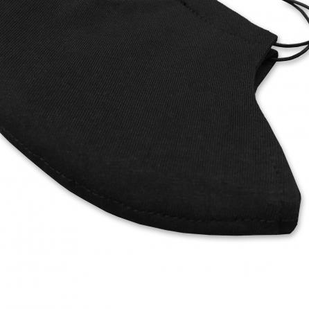 Extra kényelmes, kívül-belül fekete pamut jersey maszk, 4 rétegű