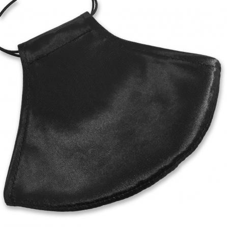 Kívül-belül fekete selyem arcmaszk, szűrőbetéttel, állítható fülpánttal