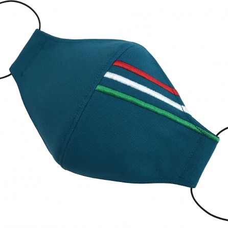 Magyar zászlós maszk. Hímzett trikolor, PP szűrő, orrklipsz. Petrolkék színű