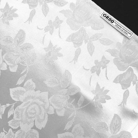 Hófehér, jacquard rózsás, elegáns selyem brokát hegedű formahuzat 4/4-es és 3/4-es hegedűhöz